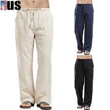 Mens Casual Cotton Linen Baggy Harem Pants Yoga Sports Loose Drawstring Trousers