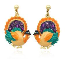 Turkey Dangle Charm Post Earrings Thanksgiving Woman Jewelry Purple Rhinestone