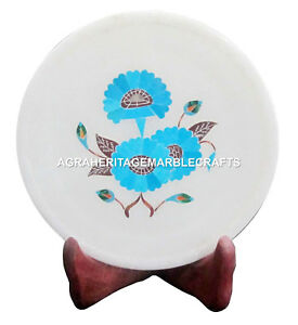 """6"""" Marble  Dish Plate Turquoise Gems Marquetry Pietra Dura Kitichen Gifts H1415"""