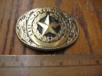 TEXAS STATE SEAL WESTERN BELT BUCKLE 2 3/4 BY 3 3/4 GOLD TONE