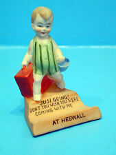 """1920's Child with Suitcase on Penholder - """"Just Going! Don't you ...At Heswall"""""""