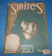 Large Vintage 1918 Sheet Music Smiles Piano Voice J Will Callahan Lee S Roberts