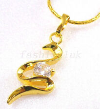 Art CZ Letter S Charm 24K Yellow Gold Plated Name Pendant Necklace Chain