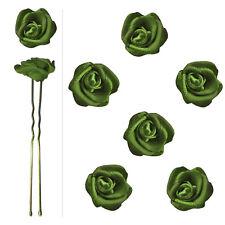 6 épingles pics cheveux chignon mariage mariée danse roses en satin vert olive