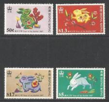Hong Kong 1987 Lunar New Year/Rabbit--Attractive Topical (482-85) MH