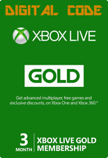 3 Month Xbox Live Gold Membership Code Card for Xbox 360 or Xbox One (3+1 Month)