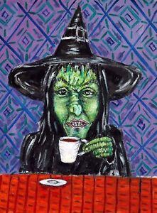 witch coffee fantasy mythology  art print impressionism gift new 8x10