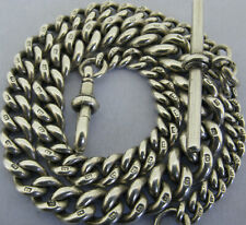 More details for victorian solid sterling silver albert pocket watch chain & t-bar bir 1887