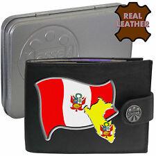 PERU Klassek Mens Leather Wallet PERUVIAN Flag map Emblem gift Piruw Metal Box