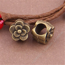20pc Antique Bronze Flower Spacer Beads Charms Jewellery Findings Hole 5mm S381T