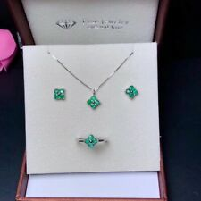 Columbia Emerald Earring Pendant Jewelry Sets With 925 Silver May Birthstone