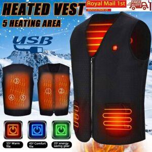 Winter Electric Heated Vest Jacket Coat Tops USB Warm Up Heating Pad Body Warmer