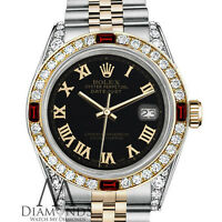 Ladies Rolex 26mm Stainless Steel & 18kt Gold Dial Ruby & Diamond Watch Bezel