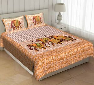Seltos Elephant Handmade Cotton Bedding Set Queen Bed Sheet with Pillow Covers