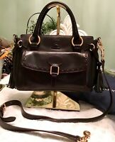 Dooney Bourke Italian Florentine Leather Front Pocket Satchel Handbag Black EUC