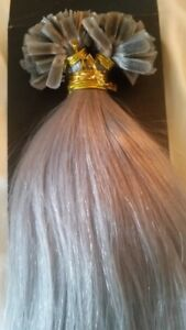 """16""""NAIL TIP/U TIP 1G #SILVER/GREY 5Agrade HUMAN HAIR EXTENSIONS 1 g 18"""" 22"""" REMY"""