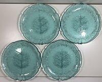 "4 Vintage Arcoroc France Turquoise Teal Aspen Leaf 7.25"" SALAD Glass Plates"