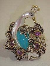 BARBARA BIXBY STERLING 18K BLUE CHALCEDONY AMETHYST PEACOCK RING NEW 7