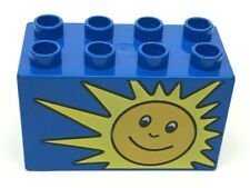 Lego Duplo Smiling Sun Printed Block Specialty Blue Piece Part 2x4