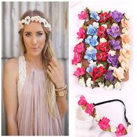 Fashion Flower Head Chain Jewelry Hollow Elastic Hair Band Headband Wedding Gift