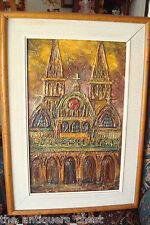 """Original Oil on Masonite Board 1970/89, Abstract, by Carl Thorp """"Cathedral"""""""