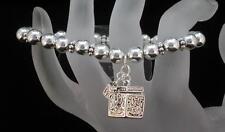 Silver Tone Bead and Locket Stretch Bracelet