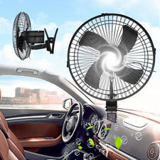 "10"" 24V CLIP ON CAR OSCILLATING FAN 2M CABLE SPEED CONTROLLER TRUCK VAN COOLING"