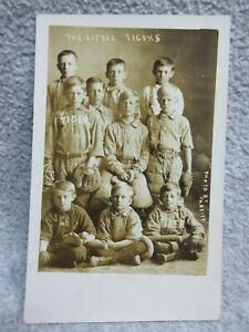 1907-1915 THE LITTLE TIGERS Boys BASEBALL TEAM PHOTO  POSTCARD RPPC by PARFITT