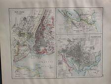1900 VICTORIAN MAP ~ NEW YORK CITY PLAN ENVIRONS WASHINGTON NICARAGUA CANAL