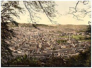 Bath From Beechen Cliff Vintage photochrome print ca. 1890
