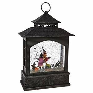 "RAZ Imports Witch Lighted Water Lantern 11"" Halloween Snow Globe with Swirlin..."