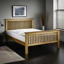 NEW Oak Finish Wooden Single Shaker Bed Frame And Orthopaedic Mattress