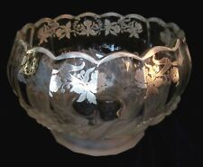 Large Footed Glass Bowl w/ Silver Daffodil Overlay & Frosted Fruit - Heavy