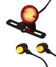 Matt Black Custom Retro Cafe Racer Motorbike LED Stop Tail Light & Indicator Kit