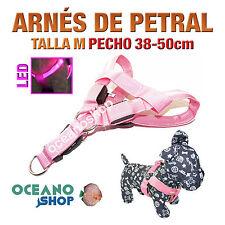 ARNÉS TALLA M LUMINOSO LED ROSA PETRAL AJUSTABLE PERRO PECHO 38-50cm L22SR 2948