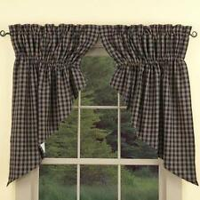 Country Navy Sturbridge Prairie Swag Curtains 72WX36L Plaid Lined Cotton