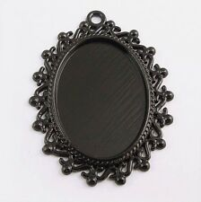 12X Vintage Style Black Tone Oval Lace Cameo Setting(25*18mm) 35*29*2mm