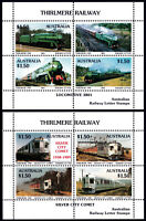 Australia 1990 Thirlmere Railway 3801/COMET set (2) local stamp mini sheets MNH