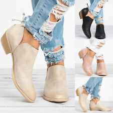 Womens Casual Shoes Leather Low Heels Pumps Slip On Ankle Boots Holiday Size New