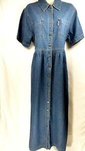 ERIKA & CO Blue Denim Maxi Dress White Dots Button Down Tie Backs NWT Size L