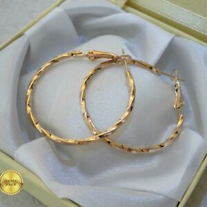 Womens Elegant Sparkle Twist Hoop Earrings, 40mm Yellow Gold Filled , GIFT / UK
