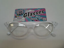 50's White Rhinestone Glasses 1950's Sock Hop Horn Rimmed Cat Eye Clear Lenses