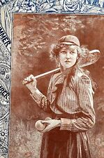 Taylor Victorian LADIES TENNIS PLAYER 1893 Tennis Balls Hat Costume Matted Print