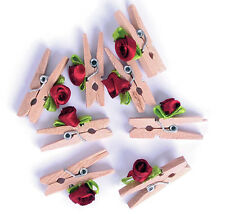 The Craft Factory Mini Wooden Pegs, with Red Ribbon Roses, pack of 8