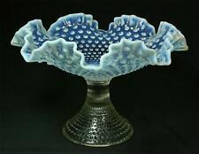 Vintage Fenton Blue Opalescent Moonstone Ruffled Hobnail Compote Bowl 1950's