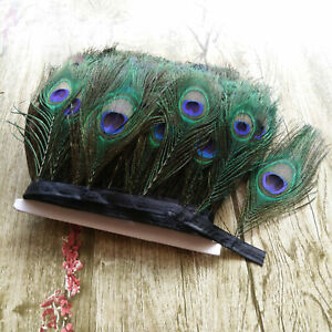 Beautiful 1-10yards Natural Peacock Feather Ribbon 12-15cm/5-6 Inches Decoration