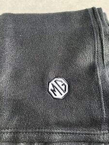 Black Fleece Blanket With Embroidered MG Style  Logo In Black And White