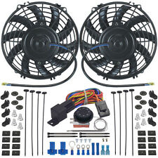 """DUAL 9"""" INCH ELECTRIC COOLING FAN-S ADJUSTABLE TEMPERATURE THERMO CONTROLLER KIT"""