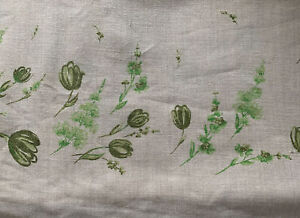 "Vintage Mid-Century Green Avacado Tulips Floral Tablecloth Farmhouse 38"" X 64"""