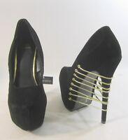 "NEW LADIES Black 6.5"" High Heel  2.5"" Platform Pointy Toe Gold Elastic Size 7"